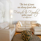 FRIENDS FAMILY GATHER ROUND Wall Art Sticker Vinyl Words Transfer Decal Lounge