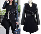 AU SELLER WOMEN WOOLEN WINTER ZIP COAT TRENCH WINDBREAKER PARKA OUTWEAR T136