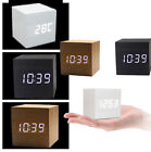Mini Modern Cube Wooden Digital LED Desk Voice Control Alarm Clock Thermometer C