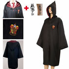 Harry Potter Gryffindor Adult /Kid Costume Robe Cloak fancy Dress (free TATTOO)