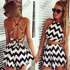Womens Summer Black White UK Crop Top Shorts Co-ord Two Piece Playsuit Dress Set