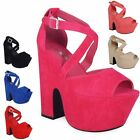 NEW WOMENS LADIES STRAPPY PLATFORM PEEPTOE BUCKLE CUTOUT WEDGES HEELS SHOES 3-8