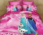 ** Pink Frozen Elsa and Anna King Bed Quilt Cover Set - Flat or Fitted Sheet **