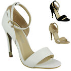 LADIES PEEP TOE HIGH STILETTO HEEL ANKLE STRAPPY WOMENS PARTY SHOES SANDALS SIZE