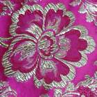 METALLIC FLOWER MOTIF FUCHSIA RED Asian Brocade Silk Fabric GP-621