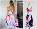 New Sexy Lady Slipdress Vest + Skirt Floral Outfits Summer Dress Casual S M L