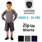 Boys Zip Up School Shorts Summer Black Grey Navy Age 2 3 4 5 6 7 8 9 10 11 12