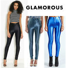 Womens Glamorous Disco Pants - Leggings - Black- Electric Blue- Denim Blue - New