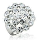 Clear Crystal Spots Round Stones White Gold EP Ladies Ring