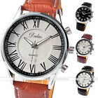 Mens 43mm Dalas Classic 3 Hand Roman Numerals PU Band Quartz Auto Wrist Watch