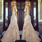 Womens Formal Occasion Nude White Lace Ballgown Evening Full Length Party Dress