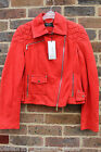 Karen Millen Red Signature The Atelier Suede Leather Biker Jacket 12 40 £499 New