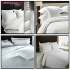 Luxury White 100% Cotton Duvet Cover 300 TC Satin Stripe + P.case Hotel Quality