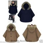 WF29 Celebrity Style Wool Blended Poncho Cape Winter Hooded Fur Coat Jacket