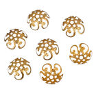 200 Pcs Wholsale Hollow Flower End Spacer Metal Bead Caps Gold Silver Plated
