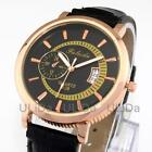 Waterproof Round Rose Gold Silver Dial Leather Band Men Calendar Dress Watches