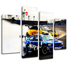 MCar040 Two Nissan Skyline Drifting Canvas Art Multi Panel Split Picture Print