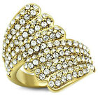 Ladies Glistening Wing Crystal Pave Gold EP Cocktail Ring