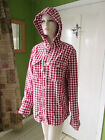 EX Fat face red check hooded button front shirt Sizes S-XL New