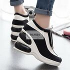 Hot Womens Wedge Hidden Heel Retro Platform Sneakers Velcro Casual Athletic Shoe