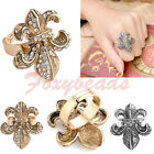 Adjustable Fleur-De-Lis Flower Bead Crystal Cross Cocktail Finger Ring Gothic