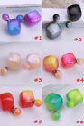 Fashion Candy Color Rainbow Double Side Two Squares Earrings Stud Gradient Style