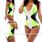 Rare Plus Size One Piece Colorblock  Push up Striped Beach Swimsuit Monokinis