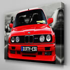Cars035 Red BMW Dirty E30 M3 Canvas Art Ready to Hang Picture Print
