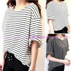 Fashion Women's Short Batwing Sleeve Black White Stripe Tops Blouse T-Shirt Hot