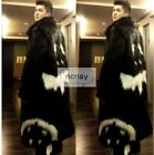 Winter G-dragon Men's Warm Outwear Faux Fur Full Length Black Parka Coat Jacket