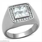Mens 4x4 MM Square Ctut CZ Stone Silver Stainless Steel Ring