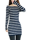 Women Off Shoulder Long Sleeve Pullover Casual Knit Dress