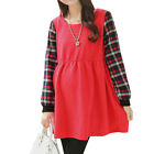 Maternity Round Neck Plaids Long Sleeves Spliced Dress