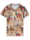 Men Leopards Pattern Round Neck Fashion Casual Top