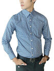 Men Point Collar Button Closed Dots Pattern Casual Shirt