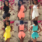 Sexy Women Sleeveless Peplum Bodycon Clubwear Party Evening Mini Dress Jumpsuit