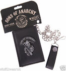 Official Sons Of Anarchy Reaper Logo Black Leather Tri Fold Chain Wallet Samcro