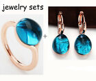 Fashion Blue Crystal Water Drop Ring + Earring Jewelry Sets