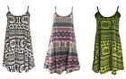 WOMENS AZTEC CAMI SWING DRESS TOP CAMISOLE STRAPPY LIME MULTICOLOURED PRINT XXXL