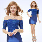 US Fashion Boat Neck Sapphire Blue Short Sleeve Lace Cocktail Party Dress 05229