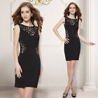 Women's Sexy Black Round Neck Sleeveless Short Cocktail Party Casual Dress 05176