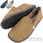 Mens Cosy Thick Faux Fur Lined Slippers with Rubber Sole