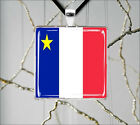 ACADIAN PROUD FRENCH AMERICAN FLAG PENDANTS NECKLACE  -ioj6Z