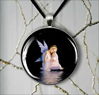ANGEL WATER REFLECT IN MAGIC DARK NIGHT PENDANTS NECKLACE  -psc4Z
