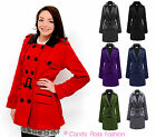 LADIES WOMENS THICK FLEECE BELTED BUTTON LONG MILITARY PARKA JACKET TRENCH COAT