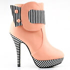 Two Tone Striped Button Zipper High Heel Stiletto Party/EVE Platform Ankle Boots