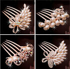 Refined Pretty Bridal Tiara Comb Peacock Five Tooth Hairpin Hair Jewelry Elegant