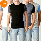 New Mens Basic Crew Neck T Shirt Slim Fit Cotton Premium Slim Fit Tees 2 Pack CT