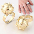 1X Silvery Golden PUNK Unisex Metal Alloy Disco Ball Finger Ring us7 Jewelry FB