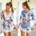 Sexy Women Summer Casual Floral 3/4 Sleeve V-Neck Boho Beach Sundress MINI Dress